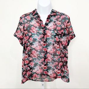 BAND OF GYPSIES Sheer Floral Front Button Blouse